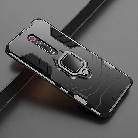 Custodia Silicone e Plastica Opaca Cover con Magnetico Supporto per Xiaomi Mi 9T Nero