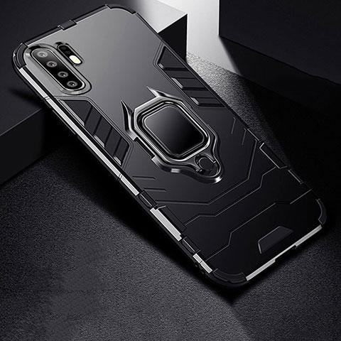 Custodia Silicone e Plastica Opaca Cover con Supporto per Huawei P30 Pro Nero