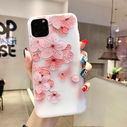 Custodia Silicone Gel Morbida Fiori Cover H19 per Apple iPhone 11 Pro Rosa