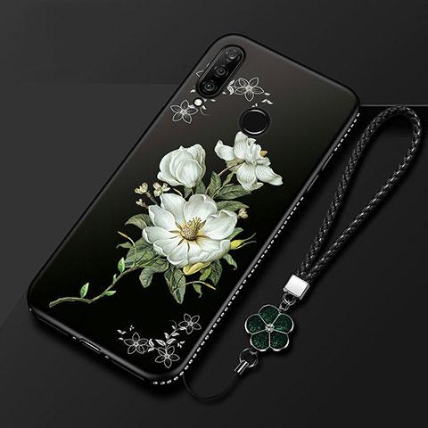Custodia Silicone Gel Morbida Fiori Cover per Huawei Honor 20 Lite Nero