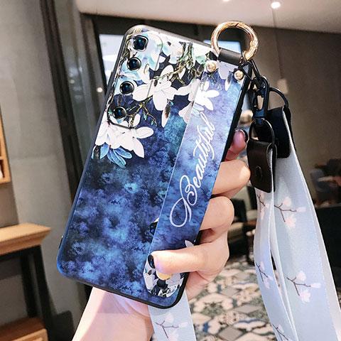 Custodia Silicone Gel Morbida Fiori Cover per Xiaomi Mi 10 Ultra Blu Notte