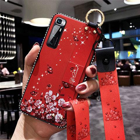 Custodia Silicone Gel Morbida Fiori Cover S01 per Xiaomi Mi 10 Ultra Rosso