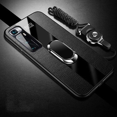 Custodia Silicone Morbida In Pelle Cover con Magnetico Anello Supporto per Xiaomi Mi 10 Ultra Nero