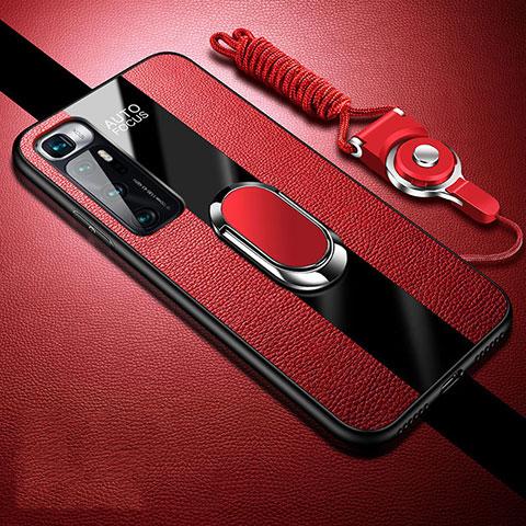 Custodia Silicone Morbida In Pelle Cover con Magnetico Anello Supporto per Xiaomi Mi 10 Ultra Rosso