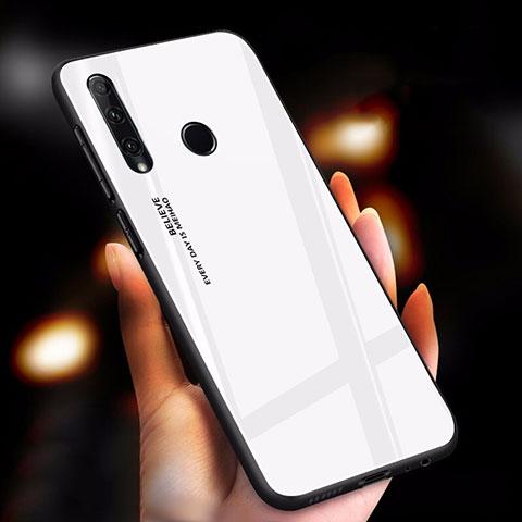 Custodia Silicone Specchio Laterale Sfumato Arcobaleno Cover per Huawei Honor 20 Lite Bianco