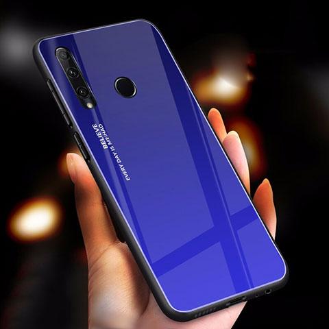 Custodia Silicone Specchio Laterale Sfumato Arcobaleno Cover per Huawei Honor 20 Lite Blu