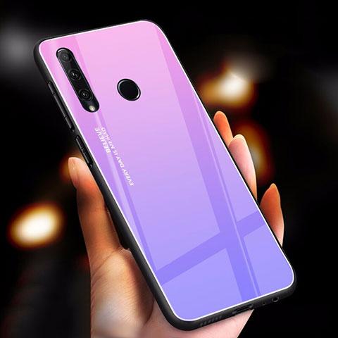 Custodia Silicone Specchio Laterale Sfumato Arcobaleno Cover per Huawei Honor 20 Lite Viola