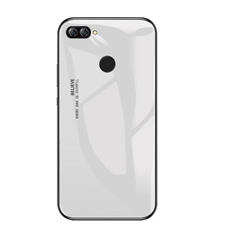 Custodia Silicone Specchio Laterale Sfumato Arcobaleno Cover per Huawei P Smart Bianco