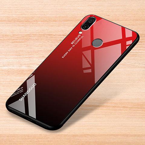 Custodia Silicone Specchio Laterale Sfumato Arcobaleno Cover per Xiaomi Redmi Note 7 Rosso