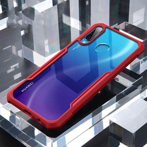 Custodia Silicone Trasparente Specchio Laterale Cover H01 per Huawei P30 Lite Rosso