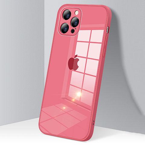 Custodia Silicone Trasparente Specchio Laterale Cover H06 per Apple iPhone 12 Pro Max Rosso