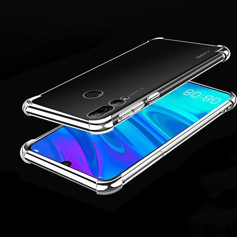 Custodia Silicone Trasparente Ultra Sottile Cover Morbida H01 per Huawei Honor 20 Lite Argento