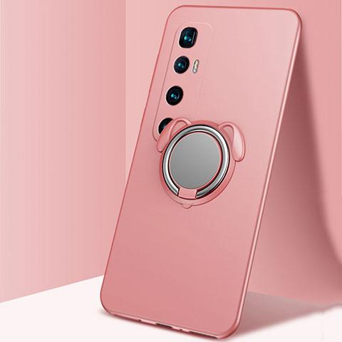 Custodia Silicone Ultra Sottile Morbida Cover con Magnetico Anello Supporto A01 per Xiaomi Mi 10 Ultra Oro Rosa