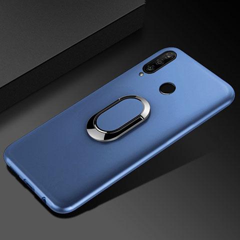 Custodia Silicone Ultra Sottile Morbida Cover con Magnetico Anello Supporto per Huawei Honor 20 Lite Blu
