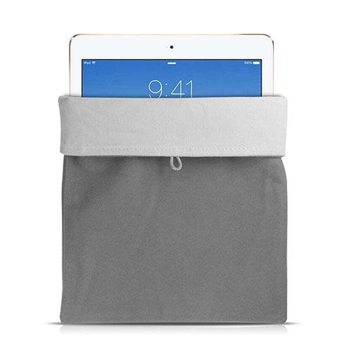 Sacchetto in Velluto Custodia Tasca Marsupio per Apple iPad Mini 3 Grigio