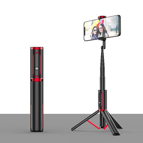Sostegnotile Bluetooth Selfie Stick Tripode Allungabile Bastone Selfie Universale T26 Rosso e Nero
