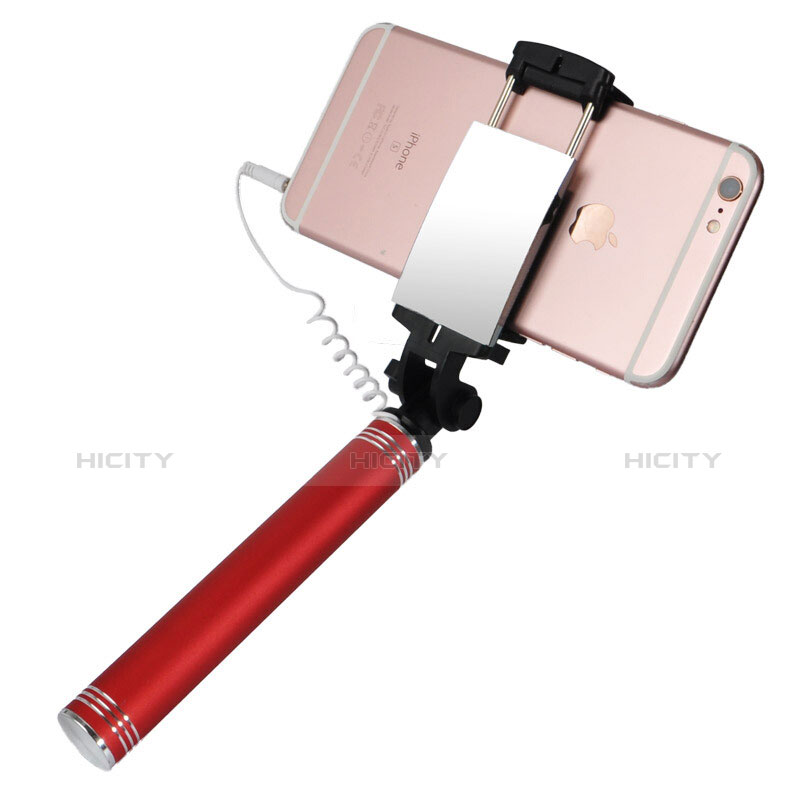 Bastoni Selfie Stick Asta Estensibile Cablato Universale S20 Rosso