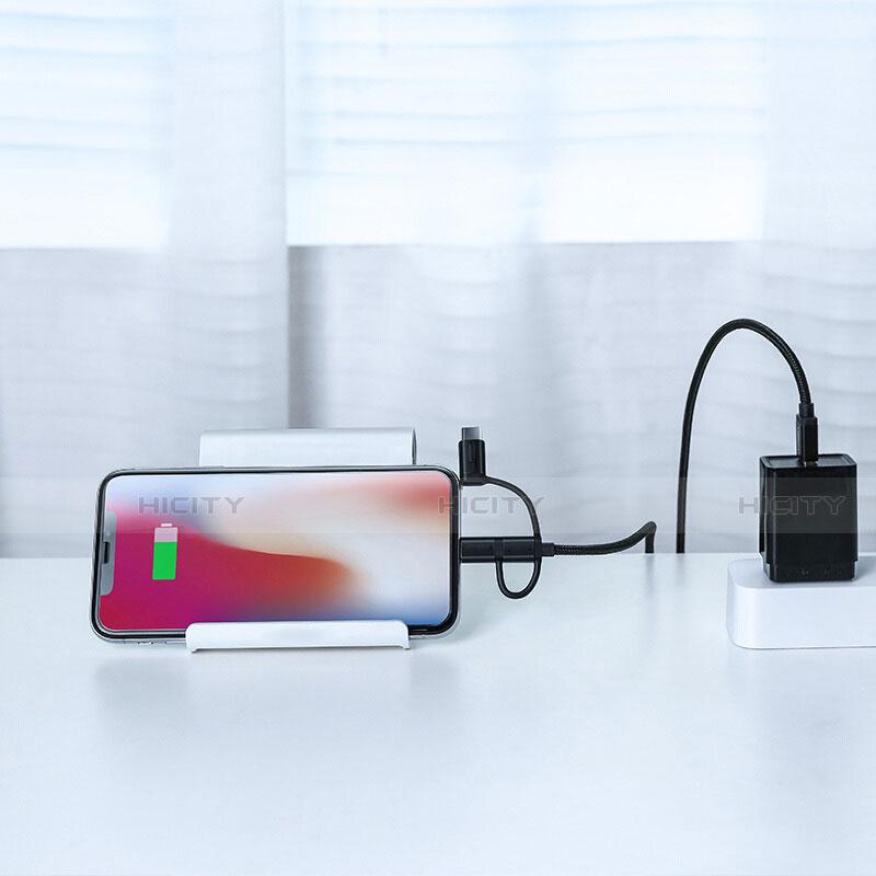 Cavo da Lightning USB a Cavetto Ricarica Carica Android Micro USB C01 per Apple iPhone 11 Nero