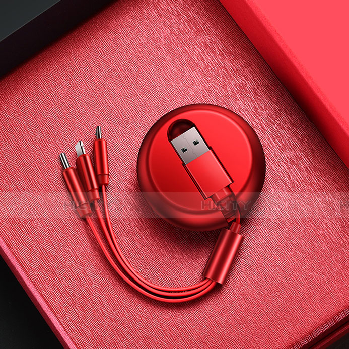 Cavo da Lightning USB a Cavetto Ricarica Carica Android Micro USB C09 per Apple iPhone 11 Rosso