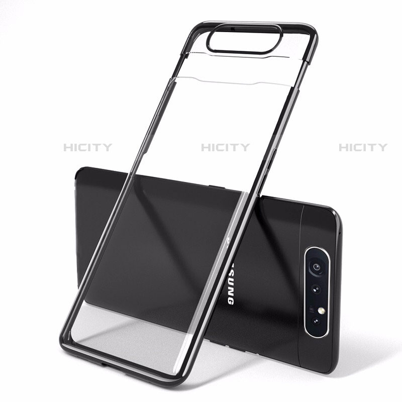 Cover Crystal Trasparente Rigida Cover H01 per Samsung Galaxy A80 Nero