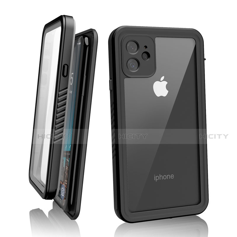Custodia Impermeabile Silicone e Plastica Opaca Waterproof Cover 360 Gradi W01 per Apple iPhone 11 Nero