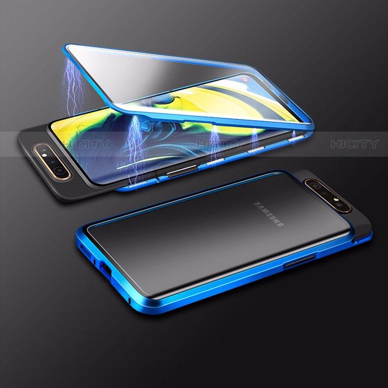 Custodia Lusso Alluminio Laterale Specchio 360 Gradi Cover M01 per Samsung Galaxy A80 Blu