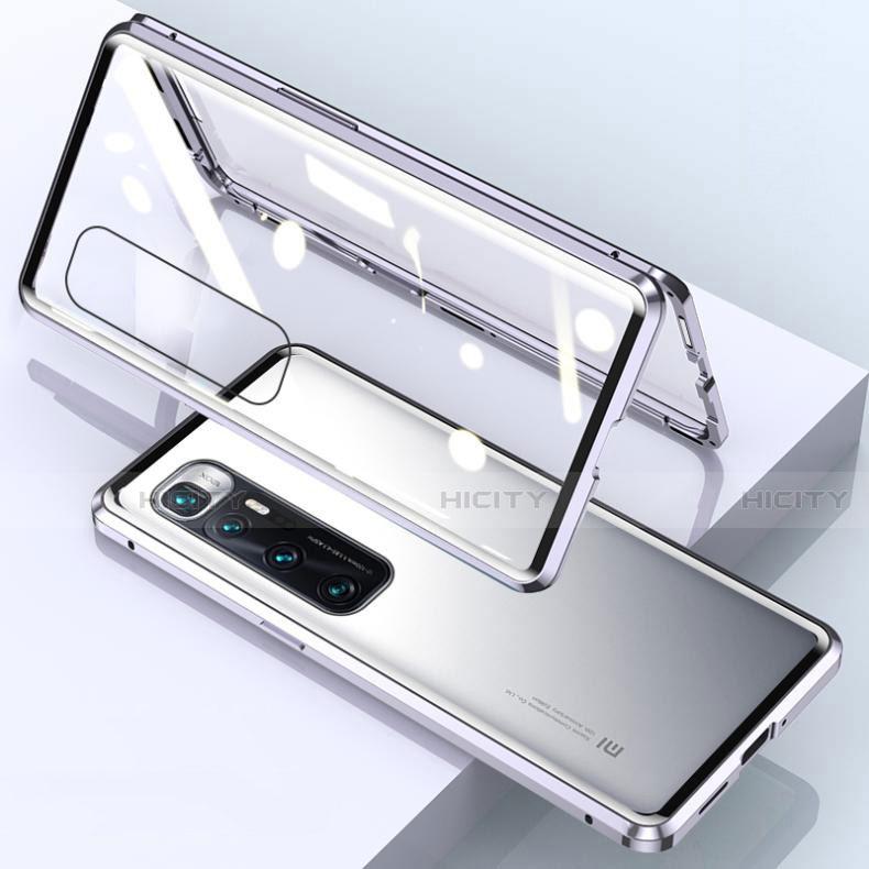 Custodia Lusso Alluminio Laterale Specchio 360 Gradi Cover M01 per Xiaomi Mi 10 Ultra Argento