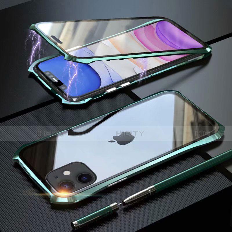 Custodia Lusso Alluminio Laterale Specchio 360 Gradi Cover M06 per Apple iPhone 11 Verde