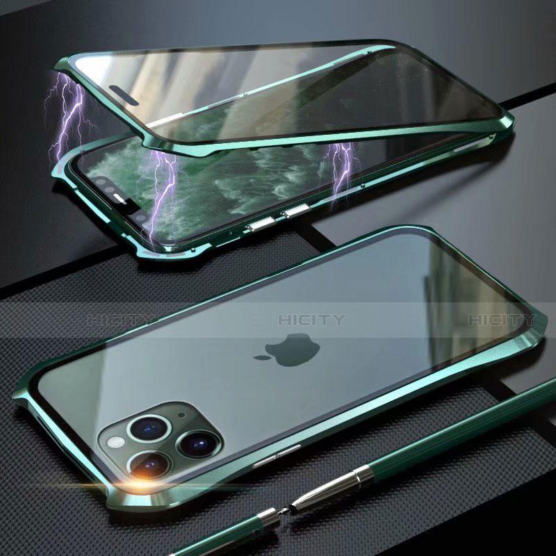 Custodia Lusso Alluminio Laterale Specchio 360 Gradi Cover M10 per Apple iPhone 11 Pro Max Verde