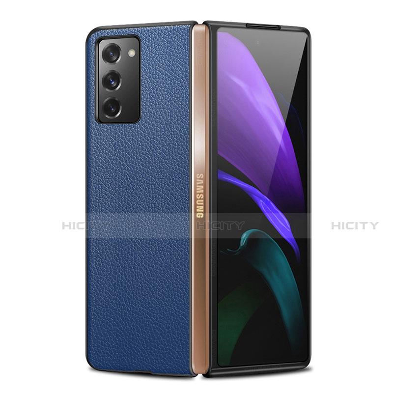 Custodia Lusso Pelle Cover per Samsung Galaxy Z Fold2 5G Blu