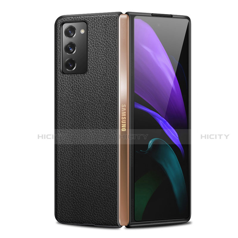 Custodia Lusso Pelle Cover per Samsung Galaxy Z Fold2 5G Nero