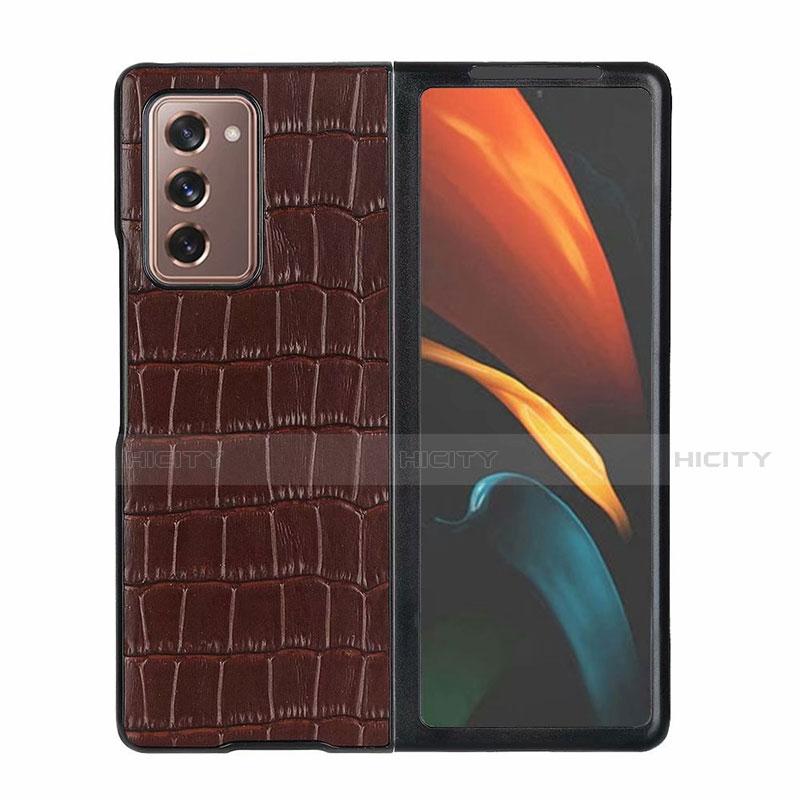 Custodia Lusso Pelle Cover S02 per Samsung Galaxy Z Fold2 5G Marrone