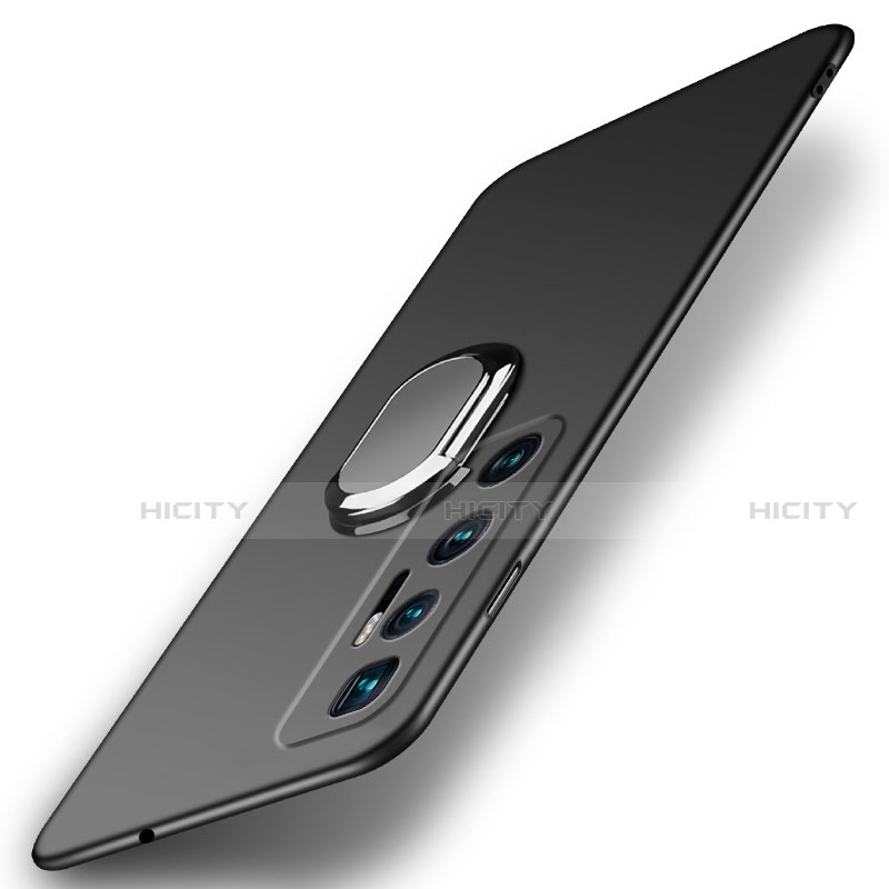 Custodia Plastica Rigida Cover Opaca con Magnetico Anello Supporto A01 per Xiaomi Mi 10 Ultra Nero