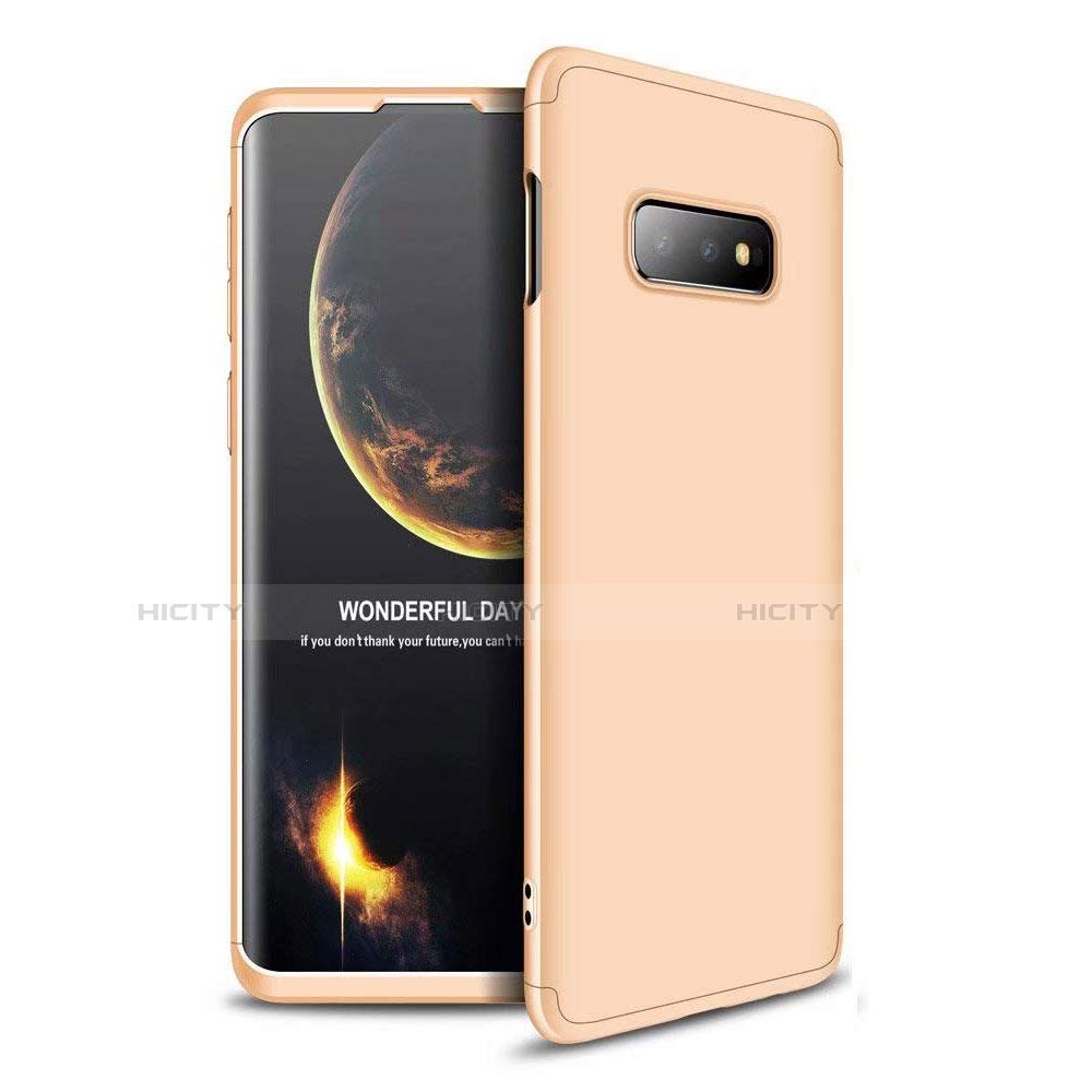 Custodia Plastica Rigida Cover Opaca Fronte e Retro 360 Gradi per Samsung Galaxy S10e Oro