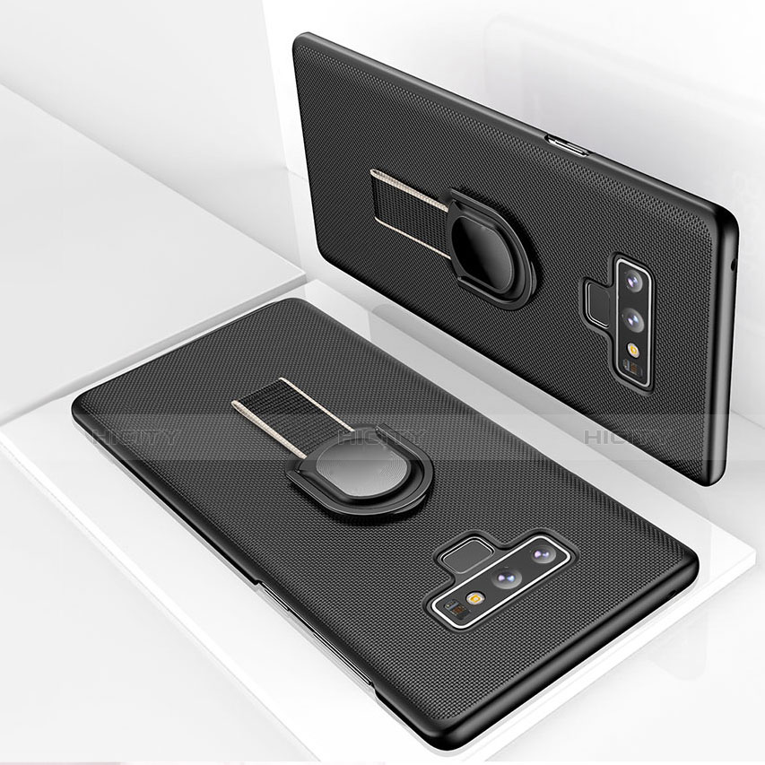 Custodia Plastica Rigida Opaca con Magnetico Anello Supporto per Samsung Galaxy Note 9 Nero