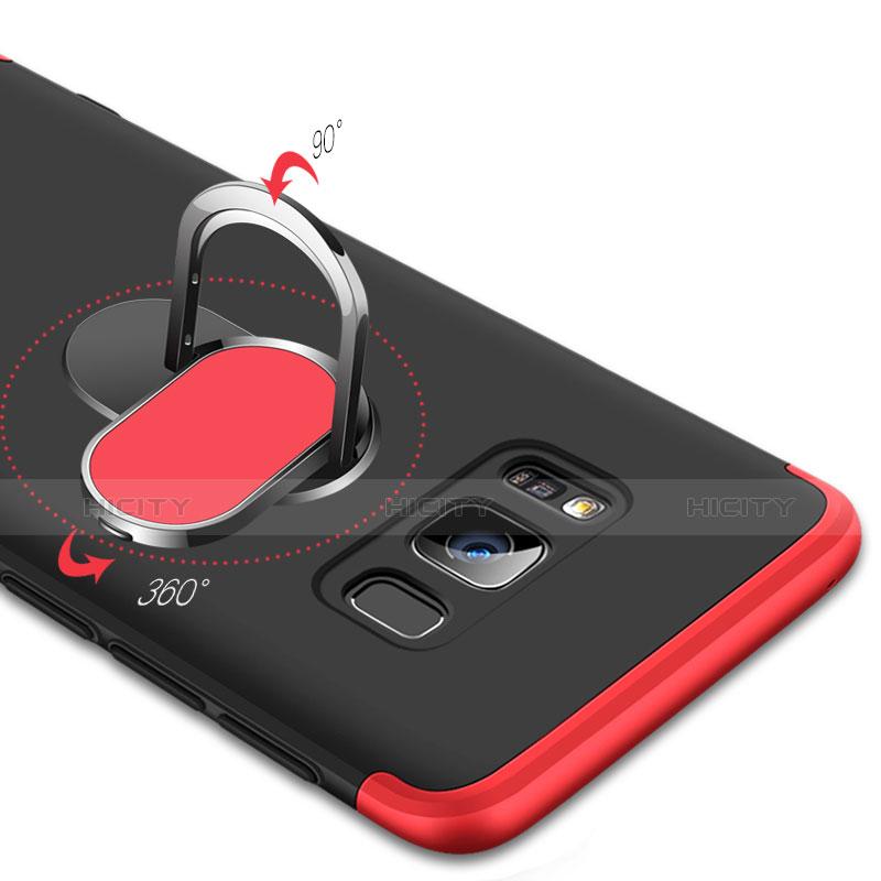Custodia Plastica Rigida Opaca Fronte e Retro 360 Gradi con Magnetico Anello Supporto per Samsung Galaxy S8 Plus Rosso e Nero