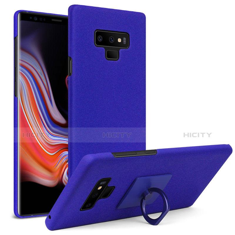 Custodia Plastica Rigida Sabbie Mobili con Anello Supporto per Samsung Galaxy Note 9 Blu