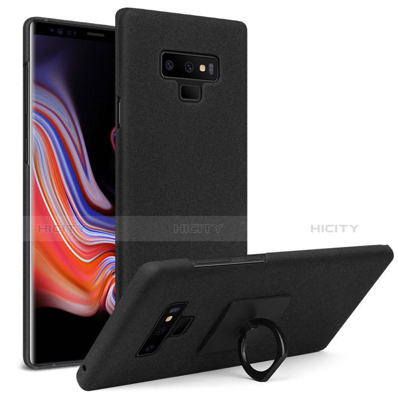 Custodia Plastica Rigida Sabbie Mobili con Anello Supporto per Samsung Galaxy Note 9 Nero