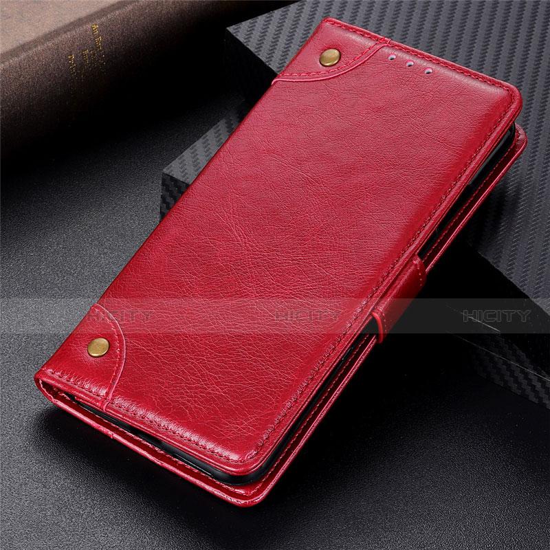 Custodia Portafoglio In Pelle Cover con Supporto L06 per Motorola Moto G9 Plus Rosso