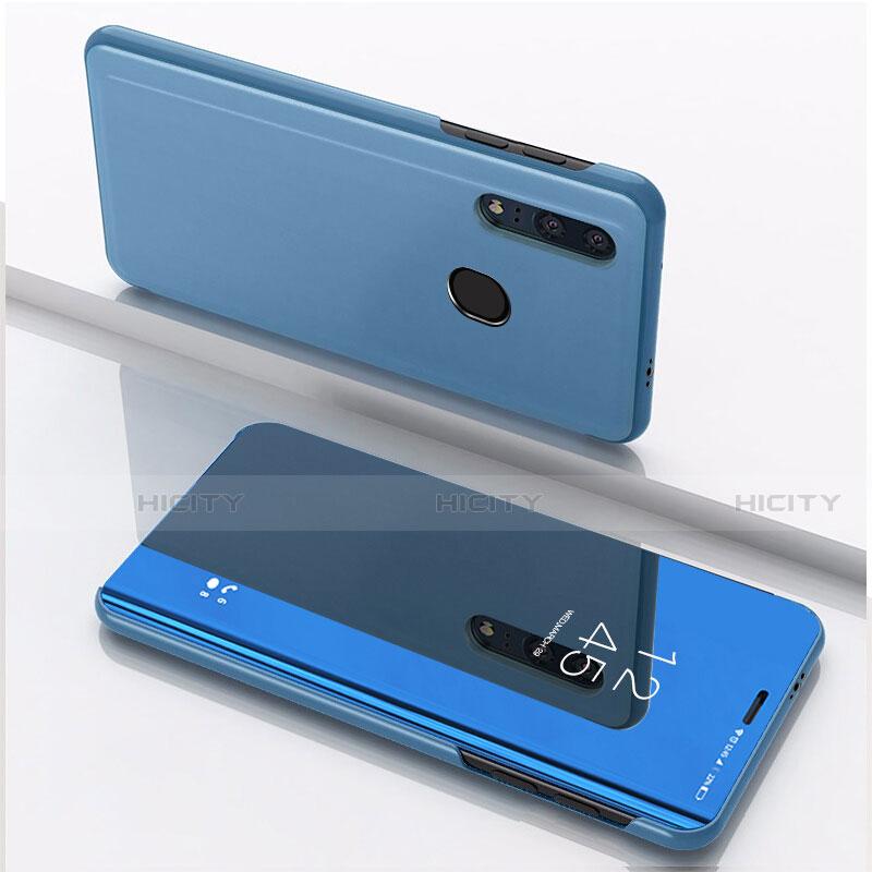 Custodia Portafoglio In Pelle Cover con Supporto Laterale Specchio Cover per Huawei Honor 20 Lite Blu