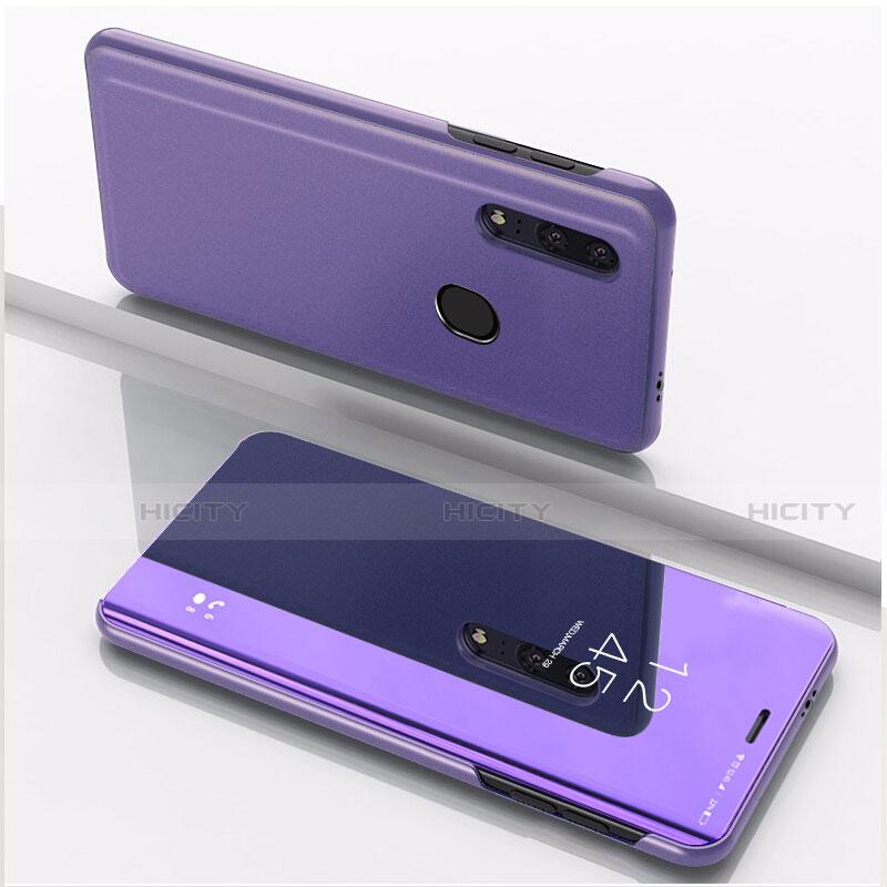 Custodia Portafoglio In Pelle Cover con Supporto Laterale Specchio Cover per Huawei Honor 20 Lite Viola