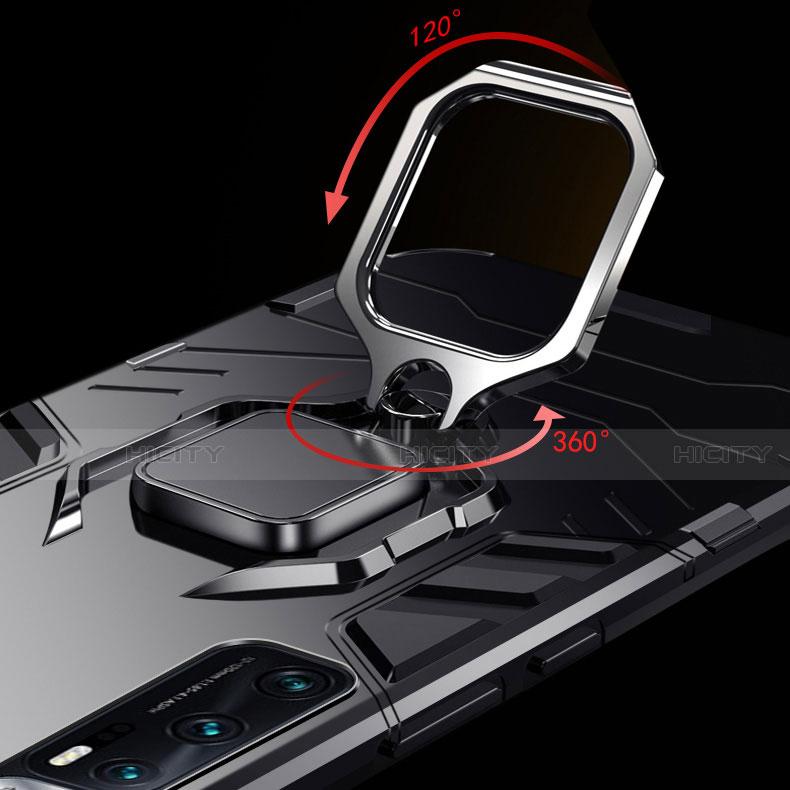 Custodia Silicone e Plastica Opaca Cover con Magnetico Anello Supporto S01 per Xiaomi Mi 10 Ultra