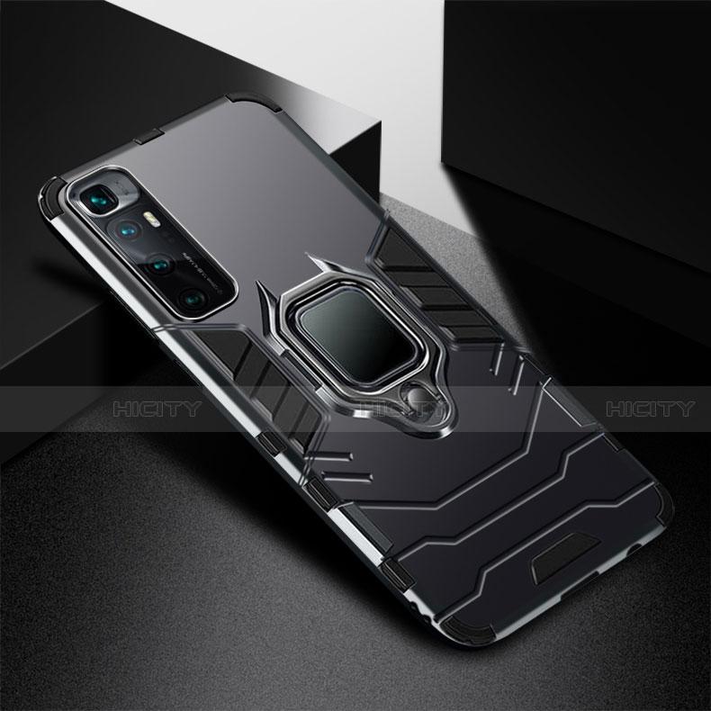 Custodia Silicone e Plastica Opaca Cover con Magnetico Anello Supporto S01 per Xiaomi Mi 10 Ultra Nero
