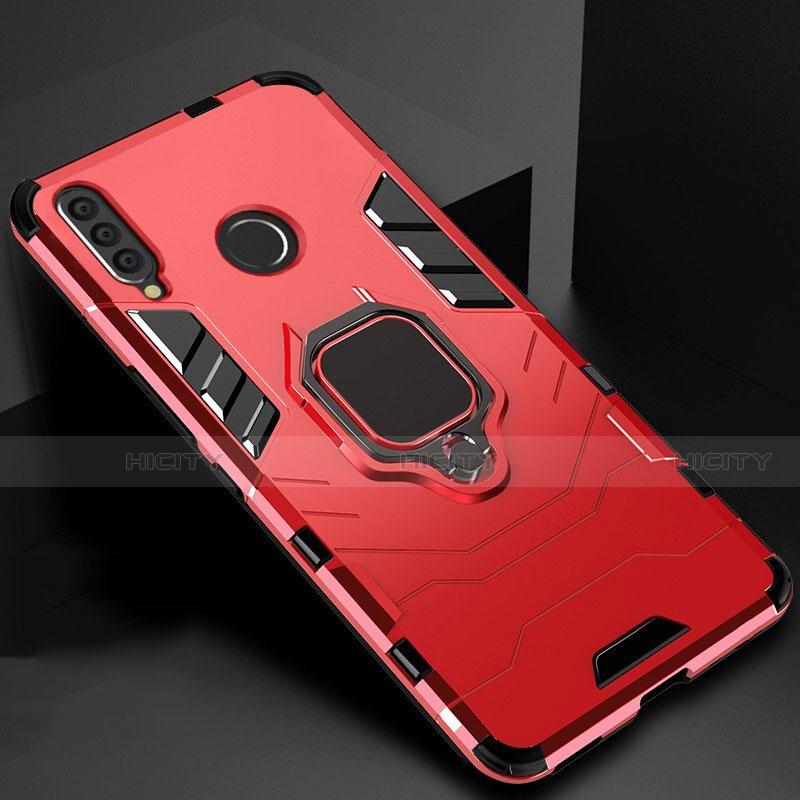 Custodia Silicone e Plastica Opaca Cover con Magnetico Supporto per Huawei Honor 20 Lite Rosso