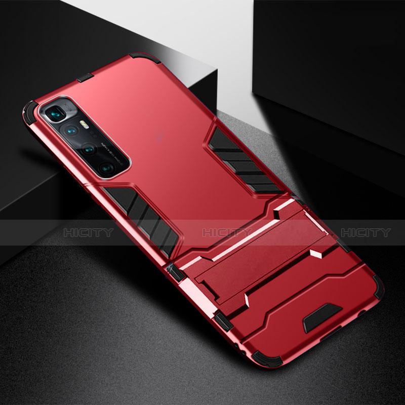 Custodia Silicone e Plastica Opaca Cover con Supporto A01 per Xiaomi Mi 10 Ultra Rosso