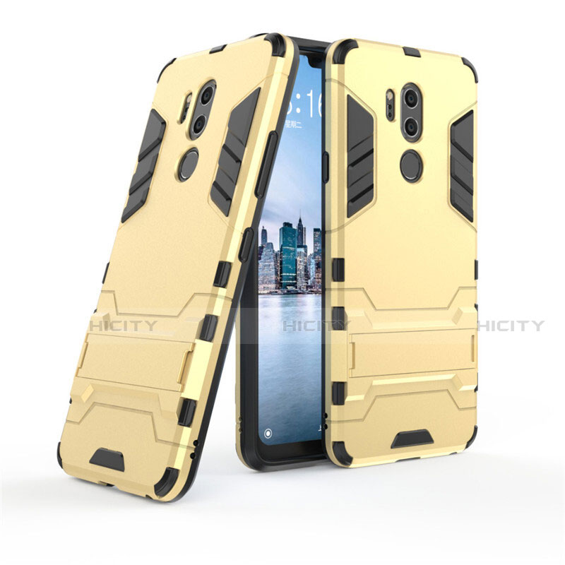 Custodia Silicone e Plastica Opaca Cover con Supporto per LG G7