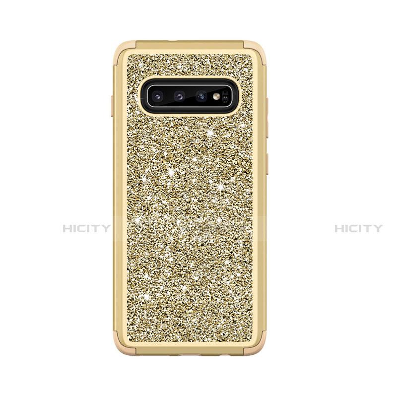 Custodia Silicone e Plastica Opaca Cover Fronte e Retro 360 Gradi Bling-Bling per Samsung Galaxy S10 Plus
