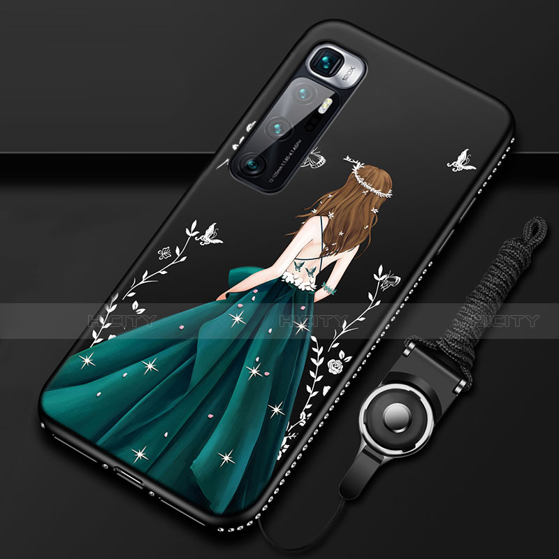 Custodia Silicone Gel Morbida Abito Ragazza Cover per Xiaomi Mi 10 Ultra Nero