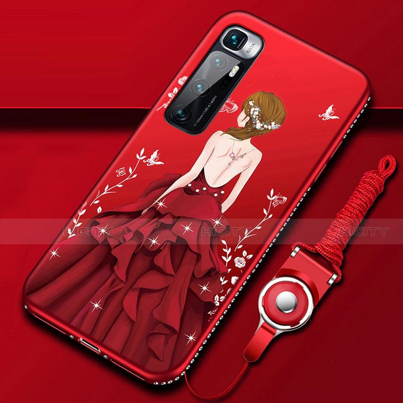 Custodia Silicone Gel Morbida Abito Ragazza Cover per Xiaomi Mi 10 Ultra Rosso