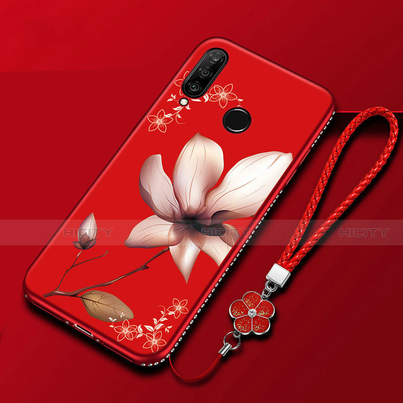 Custodia Silicone Gel Morbida Fiori Cover per Huawei Honor 20 Lite Rosso